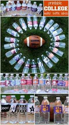 Printable college football water bottle labels - Auburn, Ole Miss, Vanderbilt, Arkansas, LSU, Florida, Clemson, Wake Forest, Georgia, Alabama, Kentucky, Virginia, USC, UNC, and more!
