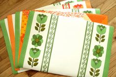 Green and Orange Folky Floral Vinyl Placemats 5 by meggyleves