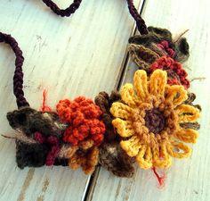 Fall Harvest Sunflower Necklace in Crochet by meekssandygirl, via Flickr