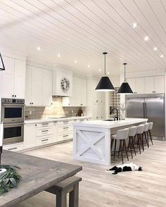 Awesome living kitchen room are available on our site. Check it out and you wont be sorry you did. Modern Farmhouse Kitchens, Farmhouse Style Kitchen, Farmhouse Style Decorating, Farmhouse Homes, Home Kitchens, Coastal Kitchens, Farmhouse Design, Grey Kitchen Designs, Interior Design Living Room