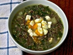Quinoa soup with cumin, feta and spinach.