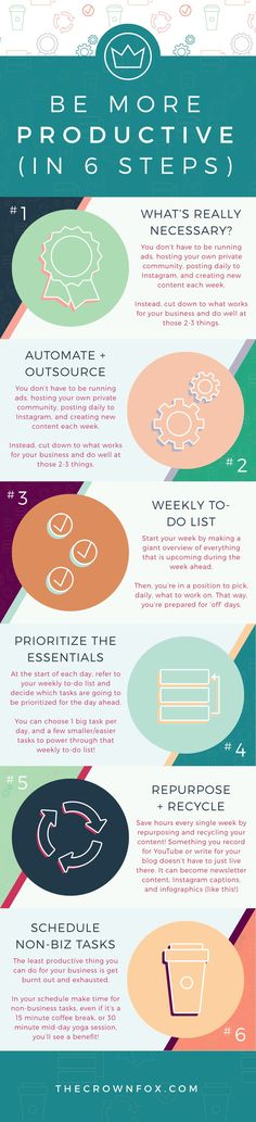 productivity Hacks to run your online business easier. Stop wasting time and use these 6 tips to be more focused + get more done. Click through to read! www.TheCrownFox.com Graphic Design