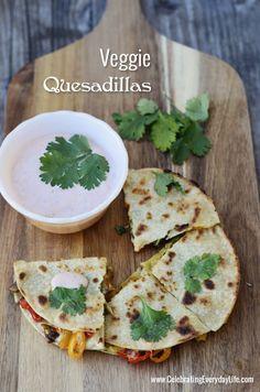 Veggie Quesadillas recipe, Vegetable Quesadilla recipe, Celebrating Everyday Life with Jennifer Carroll