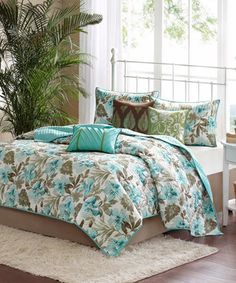 Another great find on #zulily! Teal Hibiscus Quilt Set by  #zulilyfinds