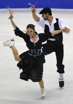 Italy's Federica Faiella and Massimo Scali perform their original dance during the Ice Dance competition at the World Figure Skating Championships on March 25, 2010 at the Palavela ice-rink in Turin.