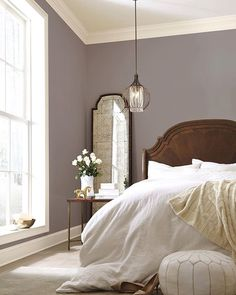Our 2017 Color of the Year, Poised Taupe SW 6039, combines earthen brown with conservative gray for a complex neutral that complements both modern and classic styles. #coloroftheyear #homedecor #bedroomdecor #taupe