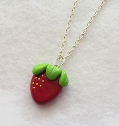 Sweet Red Strawberry Necklace - Polymer Clay Pendant Charm - Silver Plated Chain, Nickel Free, Lead Free