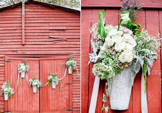 flowers for the barn - Outdoor Barn ceremony | Photo by Jeremy Harwell | 100 Layer Cake