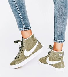 Shop Nike Suede Blazer Sneakers In Khaki And White. With a variety of delivery, payment and return options available, shopping with ASOS is easy and secure. Shop with ASOS today. Sock Shoes, Cute Shoes, Me Too Shoes, Unique Shoes, Awesome Shoes, Flat Shoes, Adidas Sl 72, Adidas Nmd, Sneakers Adidas