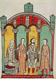 Romanesque codex of the 12th century: Liber Feodorum: scenes of a royal wedding. Archivo de la Corona de Aragon, Barcelona, Spain