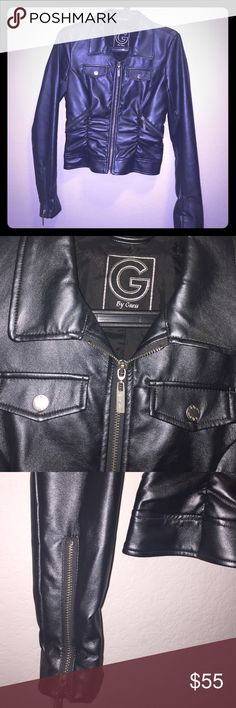 Guess vegan Leather jacket titanium color g by Guess dark silver /metal/ shimmer ..I bought it and never wore it ..  basically new perfect on Trend always classic style with an edge !  4 pockets ..gorgeous in person.  it's in perfect condition better in person ! Fully lined no flaws prestige nice details. Great  day or night !  Fit 0/2 XS. Guess Jackets & Coats