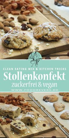 Stollen Confectionery and Mini Stollen - Sugar Free with Clean Eating - Foodrevers - Mini studs sugar free and vegan with clean eating. A healthy recipe, baked quickly and easily. Chri -Healthy Stollen Confectionery and Mini Stollen - Sugar Free w. Clean Eating Vegan, Clean Diet, Clean Eating Recipes, Healthy Eating, Clean Eating Snacks, Healthy Dessert Recipes, Healthy Chicken Recipes, Baking Recipes, Healthy Snacks