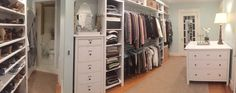 If you're short on closet space but lucky enough to have a spare room, turning it into a spacious walk-in closet and dressing area can make getting ready a pleasure.
