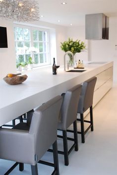 Modern - thick quartz counters, white cabinets. Keijser Co