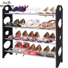 Homdox 4-Tier Adjustable Shoes Tidy Rack Storage Stand Organizer Holder Stackable Shoe Rack N15*