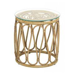 Table basse en rotin naturel Tambour avec plateau de verre