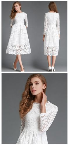 3dcb8a4da1 New Autumn Fashion Hollow Out Elegant White Lace Elegant Party Dress High  Quality Women Long Sleeve