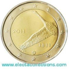 Finlandia - 2 Euro, 200 anni Banca Finlandese, 2011 cigno ucello nazionale della Finlandia