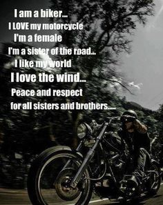 I am a sister of the road. Ride on! Bike Quotes, Motorcycle Quotes, Motorcycle Babe, Easy Rider, Lady Biker, Biker Girl, Biker Baby, Biker Love, Biker Chick
