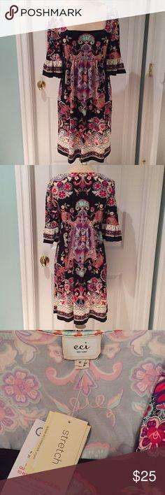 ECI dress Floral printed ECI stretch dress ECI Dresses Midi