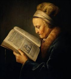 Gerrit Dou Old Woman Reading a Bible, , Rijksmuseum, Amsterdam. Read more about the symbolism and interpretation of Old Woman Reading a Bible by Gerrit Dou. Reading Art, Woman Reading, Reading People, Gerrit Dou, Rembrandt Paintings, Rembrandt Portrait, Oil Paintings, Johannes Vermeer, Dutch Golden Age