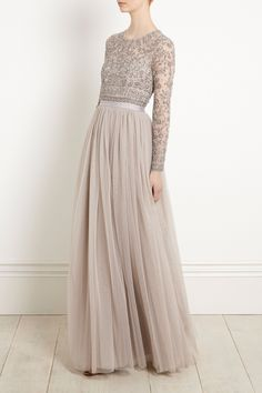 Shop the Needle & Thread NEW Andromeda Long Sleeve Maxi. Available with next day delivery and free UK returns. Beige Bridesmaids, Bridesmaid Dresses With Sleeves, Tulle Bridesmaid Dress, Modest Dresses, Pretty Dresses, Formal Dresses, Full Sleeve Dresses, Embellished Bridesmaid Dress, Long Sleeve Maxi