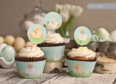 Printable Easter Cupcake Wraps & Flags