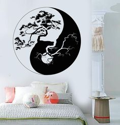 Vinyl Wall Decal Yin Yang Tree Zen Asian Style Stickers Mural (ig3676)