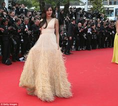 She's moulting: The textured gown was leaving a trail of feathers on the red carpet as Pin...