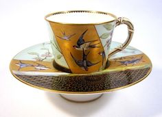 Royal Worcester Swallow Tremble Cup & Saucer