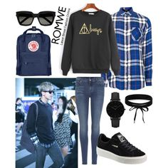 Rap-Monster AirportFashion by catezovi on Polyvore featuring Topshop, 7 For All Mankind, Puma, Fjällräven, CLUSE, Boohoo and Yves Saint Laurent