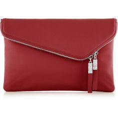 Henri Bendel Debutante Clutch (160 CAD) ❤ liked on Polyvore featuring bags, handbags, clutches, dk red, fold over handbag, cowhide handbags, red purse, henri bendel handbags and double zip handbag