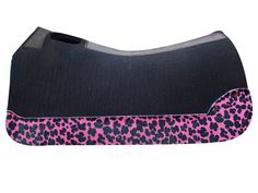 5 Star Equine Products 100% Virgin Wool Black Saddle Pad with Custom Full Length Pink Jaguar Wear Leathers www.5StarEquineProducts.com