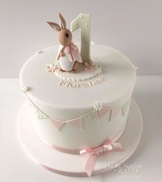 "Beatrix Potter Flopsy Bunny baby shower cake but with blue and no number? says ""welcome baby boy""?"