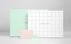 Beautiful business stationery and packaging design by Anagrama for Mona de Castellarnau. Love the colours and copper foil detail with the grid pattern.