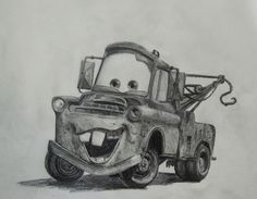 Disney Drawings Sketches, Car Drawings, Drawing Sketches, Drawing Ideas, Cartoon Car Drawing, Truck Tattoo, Tow Truck, Ford Trucks, Mcqueen