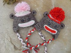 Monkey Hat for Newborn Baby Boy or Girl by RubyJensenGallery, $18.00
