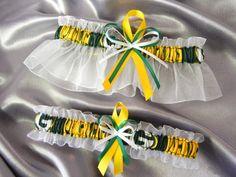Green Bay Packers Garter Set NFL Football Fabric | GartersByMadison - Wedding on ArtFire