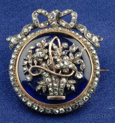 Antique Diamond and Enamel Brooch