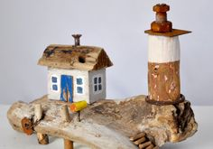 Treibholz Kunst Art Driftwood Meer Sea Ocean Kutter Schiff Boot Leiter Lighthouse Leuchtturm Licht Haus Bootsanleger Briefkasten TreppePoller Fels Felsen