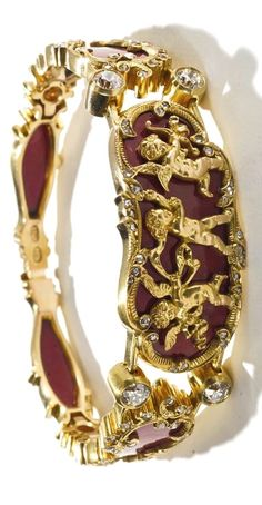 Fabergé. Mounted purpurine bracelet, workmaster Mikhail Perkhin, St Petersburg, circa 1890.