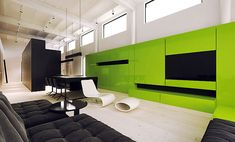 Pop of bold in your face color down played by the long horizontal lines and white surroundings.