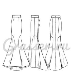 Skirt Patterns Sewing, Clothing Patterns, Pola Rok, Flat Sketches, Pattern Drafting, Fashion Sewing, Sewing Clothes, Fashion Sketches, Vintage Patterns