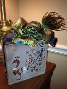 Glass Block Craft Ideas | Craft to do- glass blocks, lights, stencil and spray paint diy-crafty ...