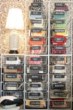 fabric storage + chalkboard labels | rethink design studio. This looks like ELFA shelving from The Container Store. I have some and could do this in the office this summer.