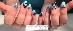 by Krista at Such beautiful Blue and Black nails with a hint of sparkle ! Blue Nails, Gel Nails, Salons, Sparkle, Nail Art, Beautiful, Beauty, Black, Gel Nail