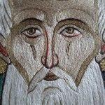 Сергия Радонежского икона выполнена в технике древнерусского золотого шитья 16 века