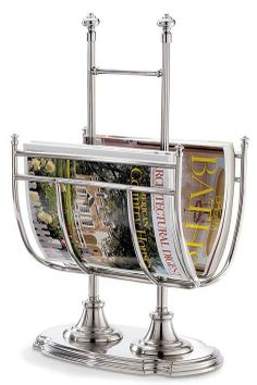 Our stainless steel Belmont Freestanding Magazine Rack features ample room for magazines and catalogs.