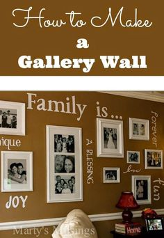 Using a diecutting machine and vinyl, blogger Marty's Musings has created a one of a kind gallery wall celebrating family. This complete tutorial shares how to create your own photo grouping on a budget with practical tips from layout to choosing frames, pictures, words or inspiration to cutting vinyl and hanging.