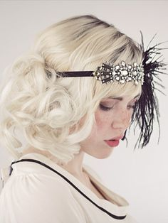Deco Flapper Feather Headband Silver and Black : Accessories : Deanna DiBene Millinery